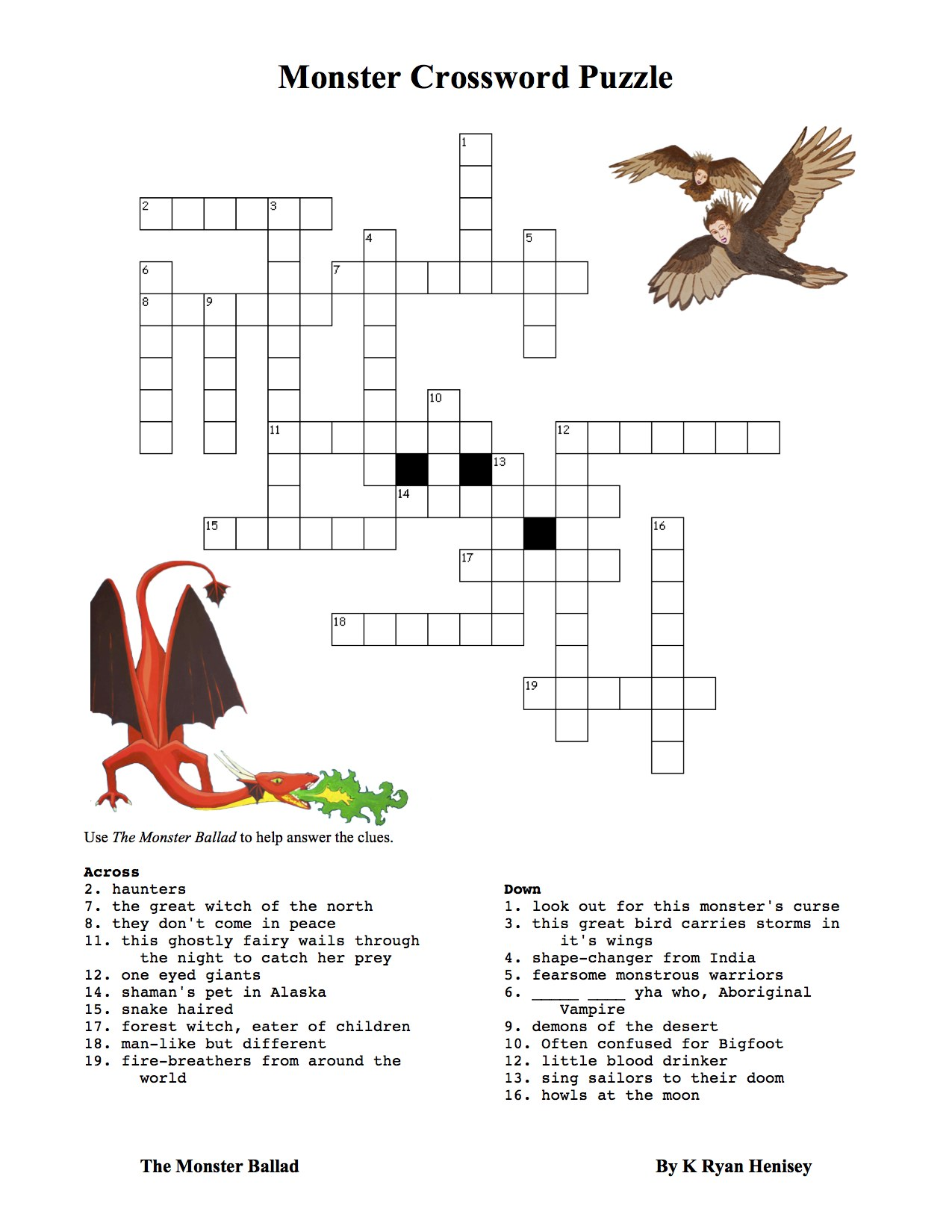 Critters crossword
