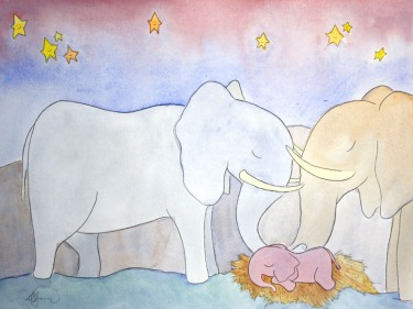 Sleepy Safari, Elephants (Sold)