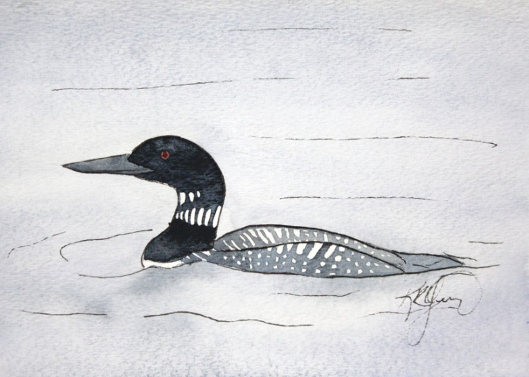loon, bird, wildlife, nature, pond, water, animals, watercolor, painting, art,