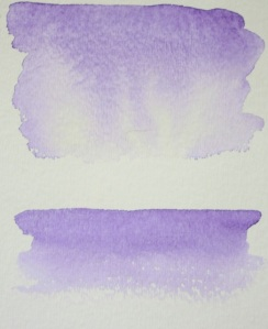 The top is a wet wash, allowing the colors to mix down the water naturally. The bottom is a dry wash, running the brush over a dry page. Skies and mountains are dark on top.