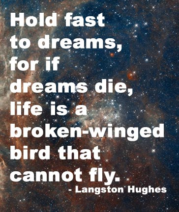 Hold fast to dreams for if dreams die, life is a broken winged bird that cannot fly. - Langston Hughes