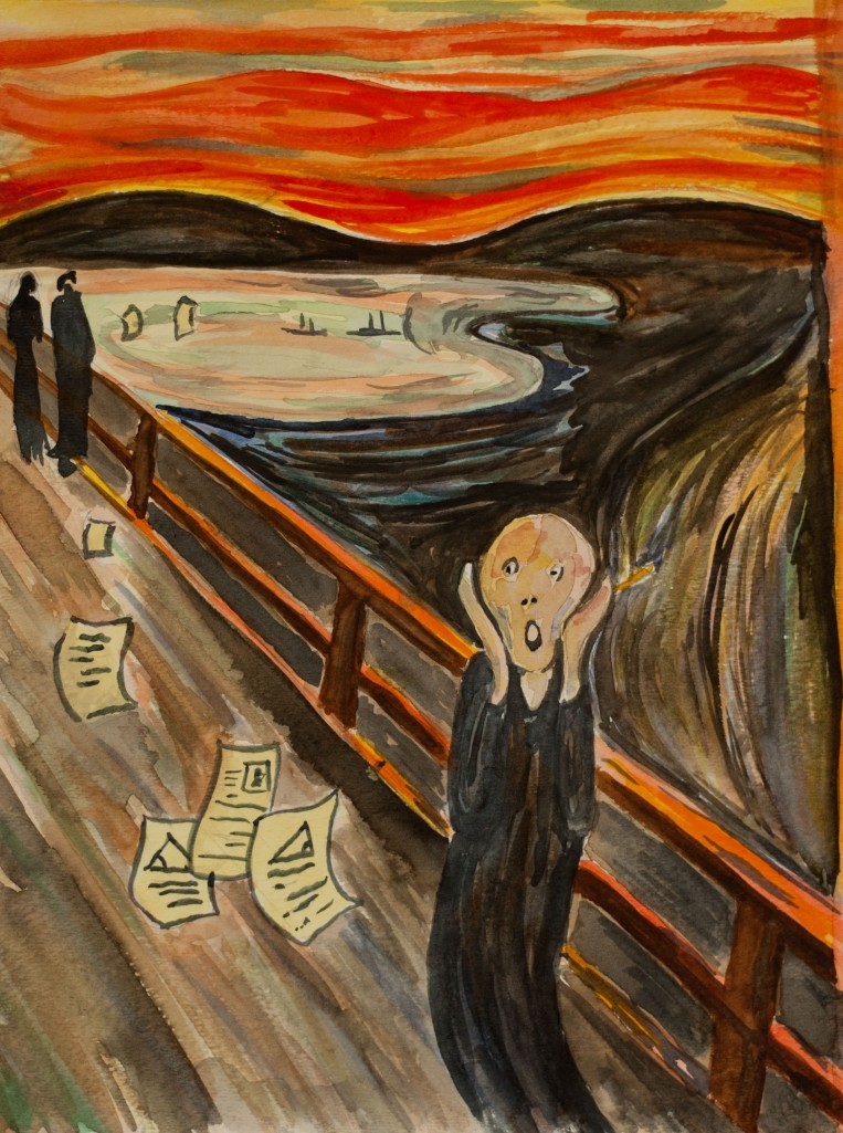 The Homework Scream - Watercolor by K. Ryan Henisey