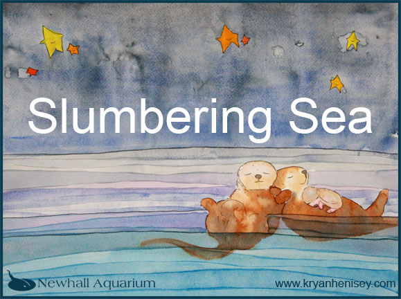 Illustrations for the forthcoming book, Slumbering Sea are on display at the Newhall Aquarium just north of Los Angeles.