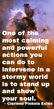 On of the most calming and powerful actions you can do to intervene in a stormy world is to stand up and show your soul. - Clarissa Pinkola Estes