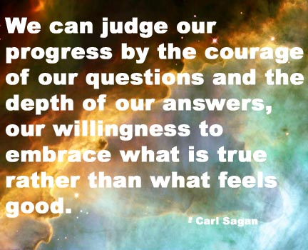 We can judge our progress by the courage of our questions and the depth of our answers, our willingness to embrace what is true rather than what feels good. - Carl Sagan