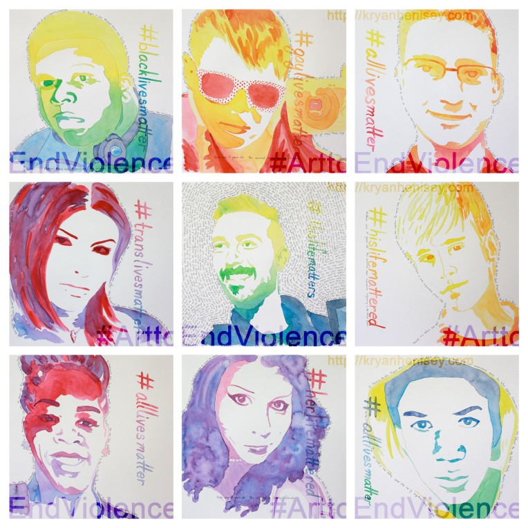#ArttoEndViolence is a series of watercolor portraits dedicated to ending violence. The first, and titular piece shows eight notable deaths to the African American, Transgender and Gay Communities.