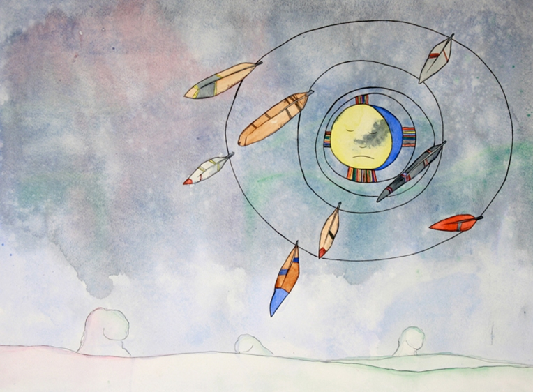 Henisey_SmudgeFaceOrBrotherMoon_18x24_Watercolor